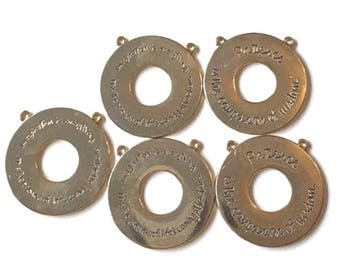 Gold Patience Imagination 5 Pendants for Jewelry Necklace making wisdom spiritual