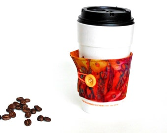 Coffee cup cozy, coffee cup sleeve, coffee jacket, coffee drinker, coffee cup holder, reversible cozy, coffee to go, coffee lover gift