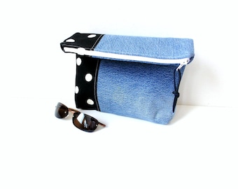 Fold over clutch, denim jean purse, recycled jeans, project bag for sewing crafts, zipper pouch, polka dots, foldover purse