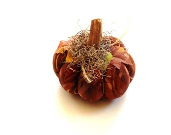 Halloween pumpkin, fabric stuffed pumpkin, brown amber, real pumpkin stem, rustic home decor, Thanksgiving table centerpiece