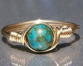 30% OFF Mosaic Turquoise 14k Yellow Gold Filled Wire Wrapped Ring