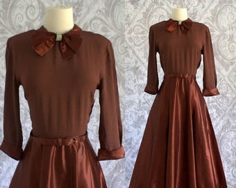 Vintage 1940s Cocktail Dress 40s 50s Brown Copper Full Skirt Satin Crepe Party Dress Womens Size Small