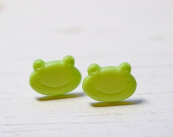 Cute Green Frog Earrings, Smiley Face Animal Jewelry, Sensitive Ears Stainless Steel Posts