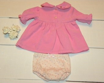 Pink Corduroy Dress and Panties - 16 - 18 inch doll clothes