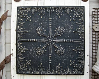 Antique pressed tin panel. 2'x2' FRAMED Tin Ceiling Tile.  Architecture salvage. Ready to hang. Rustic decor. Black metal wall decor
