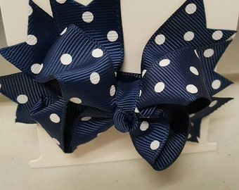 Boutique Navy with White Dots Hairbow
