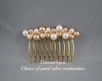 Bridal Head Piece, Bride Gold Hair Comb, Swarovski Ivory Pearls, Champagne Crystals, Wedding Pearl Comb, Bridesmaid Hair Do