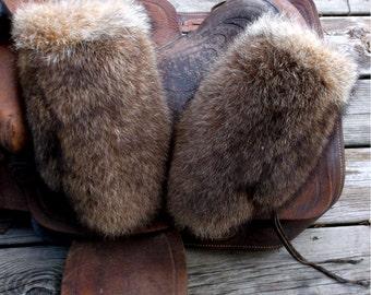 Raccoon fur mittens with coyote trim and purple fleece liner handmade X large