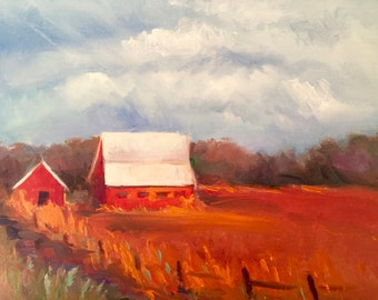 "Landscape, Farm Painting, Fall Colors, Autumn, Wall Art, 8""H x 10""W, Original Oil Painting by Tina Wassel Keck, Oil on canvas on panel"