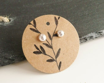 Handmade sterling silver stud earrings, metalsmith jewelry, ball earrings