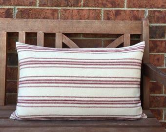 Grain Sack Lumbar Pillow Cover Red Stripes