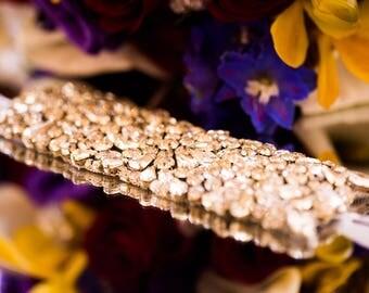 Nelia Bridal Wedding Crystals Bracelet Cuff Bangle