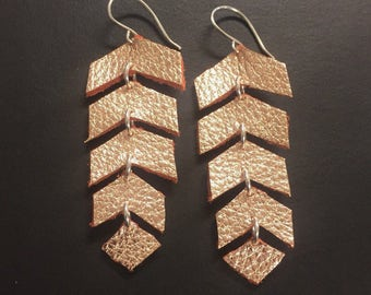 Leather Earrings - Metallic Fishbone Leather Earrings
