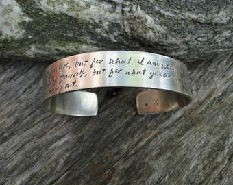 Sterling Silver Cuff Bracelet with Inspirational Love Poem by Elizabeth Barrett-Browning