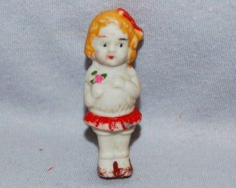 Vintage / Bisque / Doll / Girl / Flowers / Bouquet / frozen charlotte / penny doll / Vintage dolls