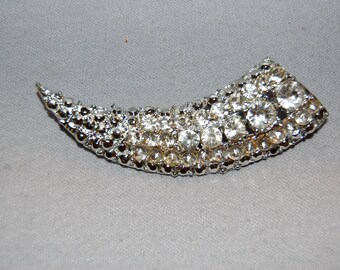 Vintage / Large / Clear / Rhinestone / Brooch / Sparkling / Silver / Old jewelry / jewellery