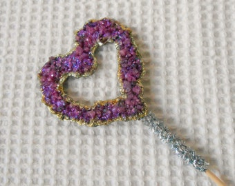 Crystal Heart Cake topper Purple Gold Glitter Wedding Engagemnet anniversary