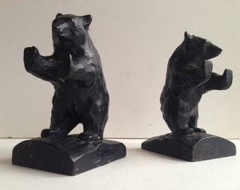 Vintage Black Bear Iron Sculpture Bookends Made in Japan