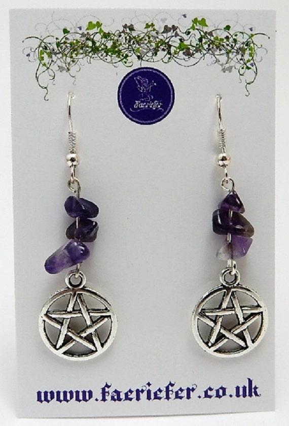 Pentagram Earrings pagan pentagram in Circle with Amethyst gemstone earrings mystical - spiritual - wicca