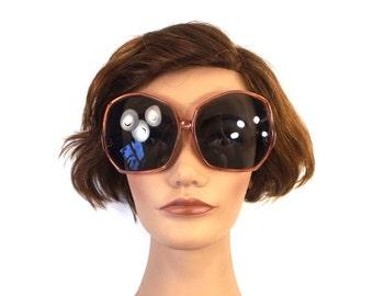 vintage 60s 70s oscar de la renta sunglasses round translucent pink salmon grey gray bugeye lens plastic eyewear fashion retro mod women 77