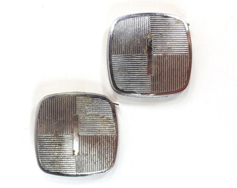 vintage 70s pair of measuring tapes silver lines geometric art deco design men for him hardware garage stocking stuffer tool box work father