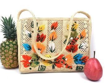 vintage 70's beach bag grass purse tote multicolor flowers shoulder bag handbag womens fashion straw natural tropical resort zipper jamaica