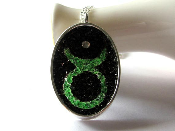 Taurus Necklace, Zodiac Sign Pendant, Emerald Birthstone Color, Stained Glass Jewelry, May Horoscope Necklace, Bull Head