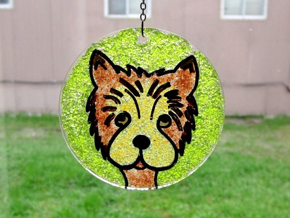 Yorkie Window Decor, Dog Suncatcher, Stained Glass Mosaic, Puppy Glass Art, Yorkie Wall Hanging, Painted Yorkie Portrait, Tan Brown Green