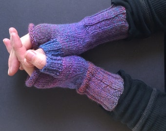 Fingerless Gloves - Hand-Knit Gloves - Women's Fingerless Gloves - Half Gloves  - Purple & Blue - Women's Winter Gloves