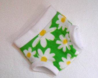 Extra Large Fleece Fitted Diaper Soaker/Fitted Cloth Diaper Cover/Overnight, Daisy Green White, Ready to Ship Vegan Toddler XL Easter Spring