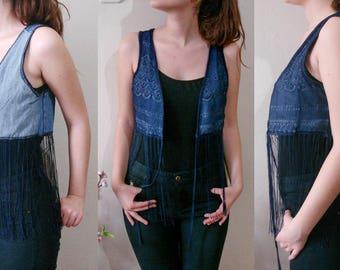 Fringe Denim Vest, Jean and lace festival clothing crop vest. Bohemian Two Faced Vest Size M