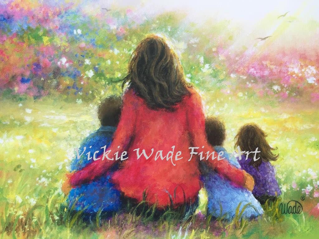 Mother Two Sons & Daughter Art Print Two Boys And Little