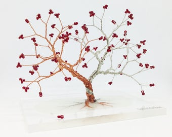 silver copper tree of life red wedding centerpiece decor red miniature wire wrapped tree whimsical wire tree statue gift for her under 50