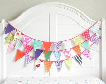 Bunting Banner Fabric Bunting Flags 9 Feet / Vintage Nursery Decor / Reuseable & Eco Friendly Party Decor SHIPS NOW