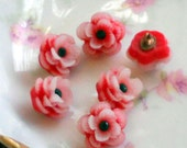 "Celluloid buttons,vintage buttons, Red buttons,Japan buttons,Flower Rose Button Rhinestone 1/2"" Pretty petite Shabby Chic Cottage 3D #128F"