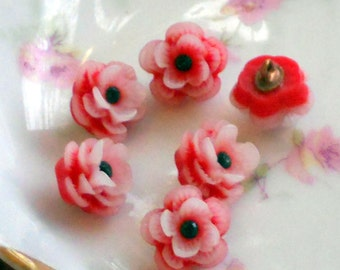 """Celluloid buttons,vintage buttons, Red buttons,Japan buttons,Flower Rose Button Rhinestone 1/2"""" Pretty petite Shabby Chic Cottage 3D #128F"""