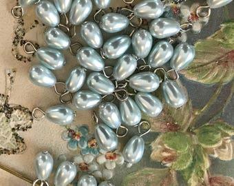 Shabby Chic Charms, Blue Pearl charms,Vintage Pearl Drops,Pearl Dangles,Teardrops,Aqua Drops,Pearl Charms,Blue Teardrops,#1703