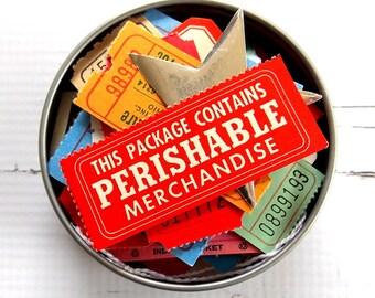 Tag & Ticket Tin Pack / 40+ Pieces / Paper Ephemera / Vintage Ephemera / Junk Journal / Daily Planner