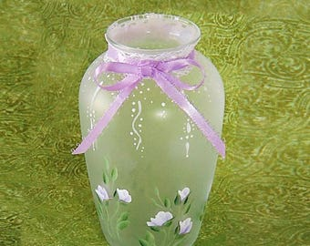 Mother's Day Gifts, Ready to Ship - Adorable Cottage Chic Frosted Mini Vase, Lavender Roses, Lace and Ribbon - Hostess Gift under 30 dollars