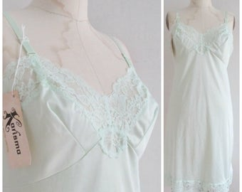 Vintage Mint Green Nylon Full Slip Size 36 Lace Harvey Woods New with Tags as found