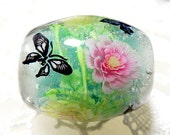 Deep, Pale Pink & Yellow Paeony Flower with Butterfly Satake Glass Lampwork Round Flower Bead sra