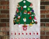 Three Retro Burlap Christmas Tree Advent Calendar for Margaret