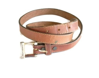 Vintage Jordache Belt / 70s Skinny Leather Belt / small