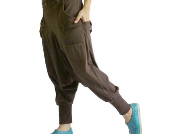 Men Women Funky Ninja Harem Dark Brown Stretch Cotton Drop Crotch Pants With 6 Pockets