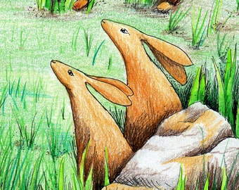 Stargazing Hares at Yule Christmas card blank greetings card, Celebration