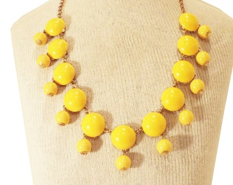 J Crew Bubble Necklace Inspired Cabochon Yellow Bubble Statement Bib Necklace Costume Jewelry Necklace