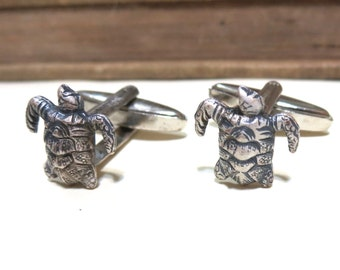 Antique Silver Tiny Sea Turtle Cufflinks - Green  - Antiqued Silver Cuff Links - Beach Wedding Ocean  Soldered