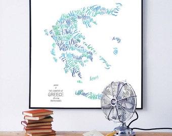 Greece calligraphy map art - typography Greek Athens Mykonos