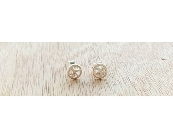 Peace Sign Sterling Silver Studs