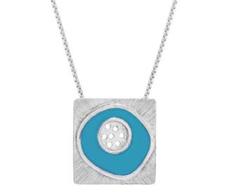 Square sterling silver & turquoise resin enamel pendant, Statement pendant